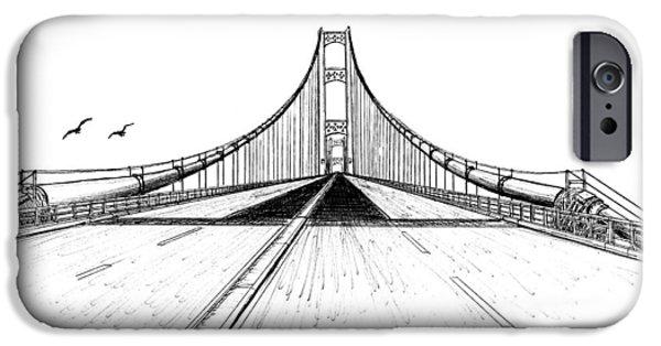 Suspension Drawings iPhone Cases - Mackinac Bridge Drive  iPhone Case by Adam Vereecke