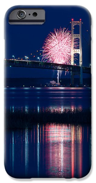 Fireworks Photographs iPhone Cases - Mackinac Bridge Fireworks iPhone Case by Steve Gadomski
