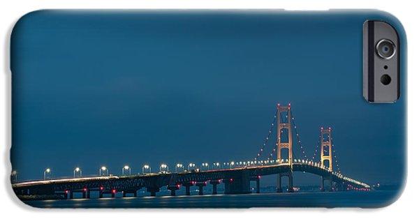Suspension iPhone Cases - Mackinac Bridge iPhone Case by Sebastian Musial