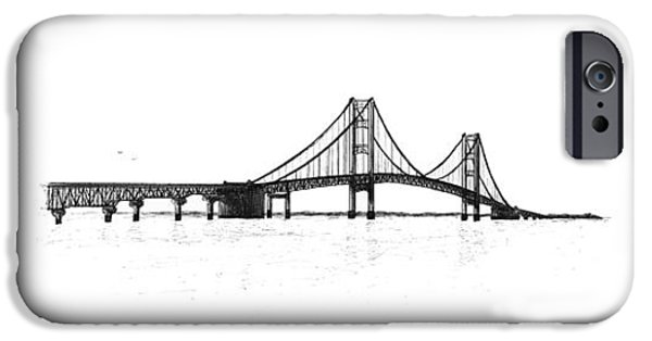 Pen And Ink iPhone Cases - Mackinac Bridge South Shore iPhone Case by Adam Vereecke