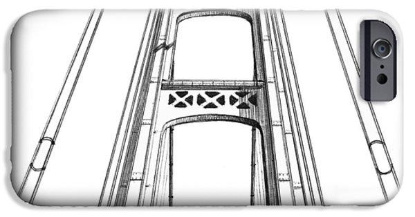 Suspension Drawings iPhone Cases - Mackinac Bridge Tower iPhone Case by Adam Vereecke
