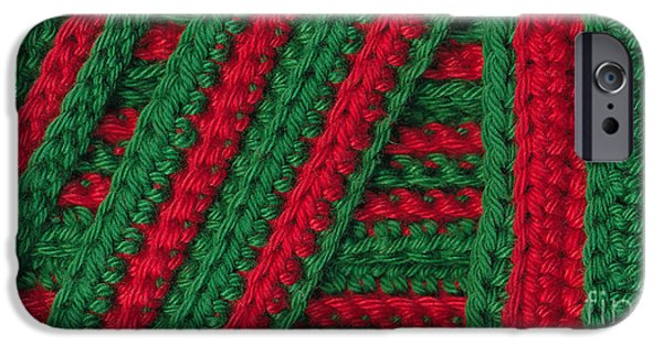 Colorful Abstract Tapestries - Textiles iPhone Cases - Macro crochet stripes iPhone Case by Kerstin Ivarsson