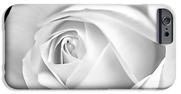 Monotone iPhone Cases - Macro White Rose in Monochrome iPhone Case by Jennie Marie Schell