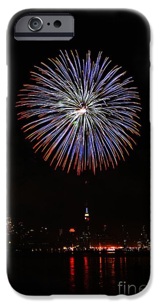 Hudson River iPhone Cases - Fireworks over the Empire State Building iPhone Case by Nishanth Gopinathan