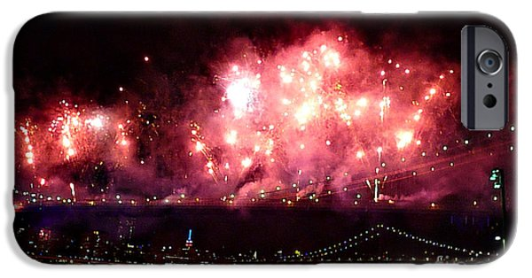 Fireworks iPhone Cases - Macys Spectactual 2014 Fireworks iPhone Case by Kendall Eutemey
