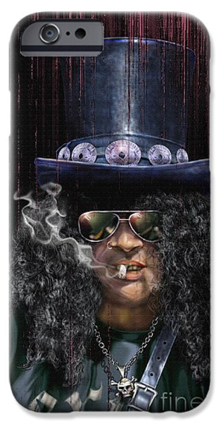 Musicians Paintings iPhone Cases - Mad As A Hatter - Slash iPhone Case by Reggie Duffie