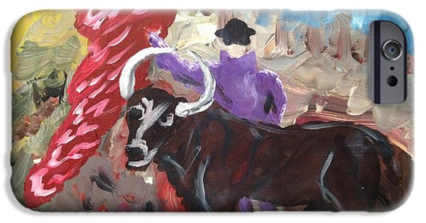 Multimedia iPhone Cases - Mad Bull Has Lost His Way iPhone Case by Edward Paul