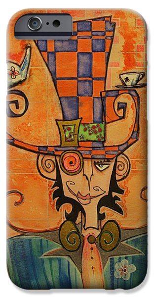 Mad Hatter iPhone Cases - Mad Hatter iPhone Case by Ellen Henneke