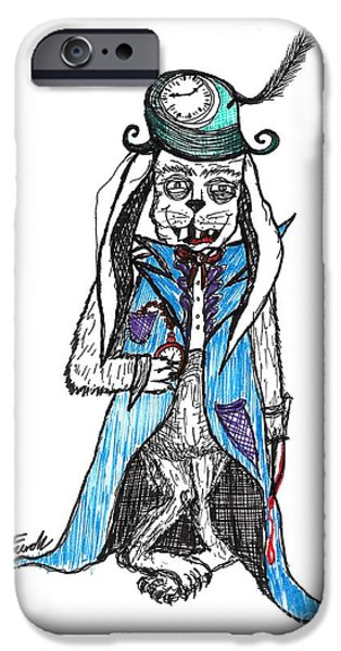 Alice In Wonderland Drawings iPhone Cases - Mad Hatter Rabbit iPhone Case by Tammy Jo French