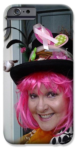 Mad Hatter iPhone Cases - Mad Hatter Tea For Breast Cancer Screening iPhone Case by Marie Jamieson
