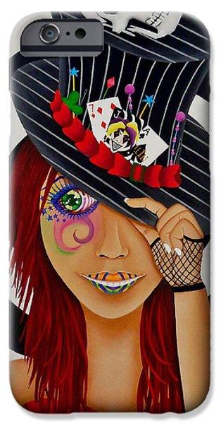 Mad Hatter iPhone Cases - Mad Hatter iPhone Case by Victoria  Ramirez