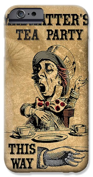 Mad Hatter iPhone Cases - Mad Hatters Tea Party iPhone Case by Greg Sharpe