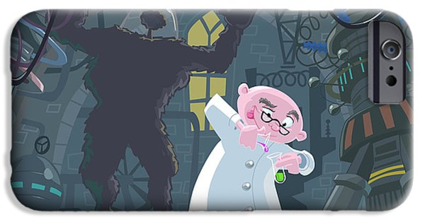 Labs Digital iPhone Cases - Mad Professor Experiment iPhone Case by Martin Davey