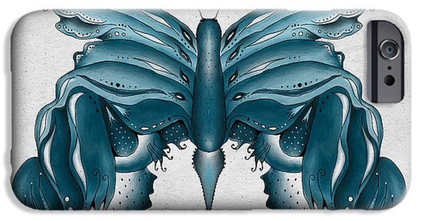 Bryant Drawings iPhone Cases - Madam Butterfly iPhone Case by Brenda Bryant