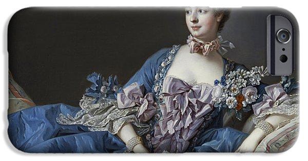 Concept Paintings iPhone Cases - Madame de Pompadour iPhone Case by Francis Boucher