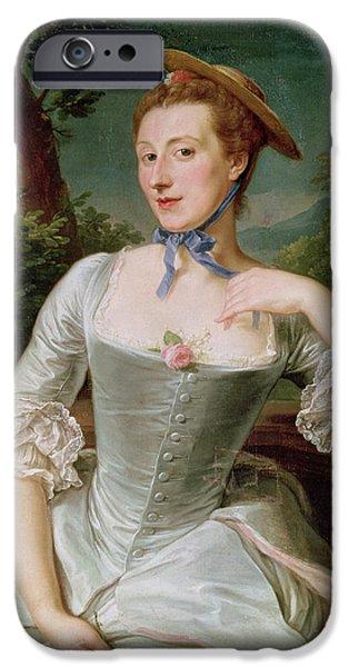 Madame iPhone Cases - Madame De Pompadour Oil On Canvas iPhone Case by Francois-Hubert Drouais