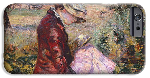 Madame iPhone Cases - Madame Guillaumin Reading iPhone Case by Jean Baptiste Armand Guillaumin