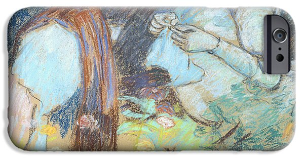 Signed Pastels iPhone Cases - Madame Guillaumin Sewing iPhone Case by Jean Baptiste Armand Guillaumin