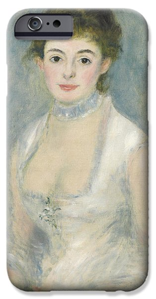 Choker iPhone Cases - Madame Henriot, C.1876 Oil On Canvas iPhone Case by Pierre Auguste Renoir