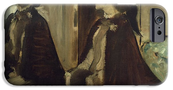 Impressionist Photographs iPhone Cases - Madame Jeantaud In The Mirror, C.1875 Oil On Canvas iPhone Case by Edgar Degas