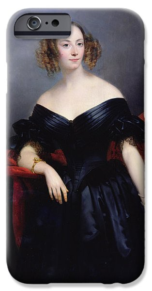 Countess iPhone Cases - Madame Rampal, Comtesse De Grigneuseville Oil On Canvas iPhone Case by Claude-Marie Dubufe
