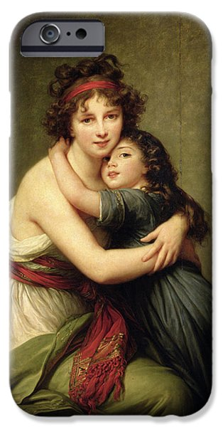 Self Portrait Photographs iPhone Cases - Madame Vigee-lebrun And Her Daughter, Jeanne-lucie-louise 1780-1819 1789 Oil On Canvas iPhone Case by Elisabeth Louise Vigee-Lebrun