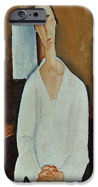 Clemente Paintings iPhone Cases - Madame Zborowska with Clasped Hands iPhone Case by Amedeo Modigliani
