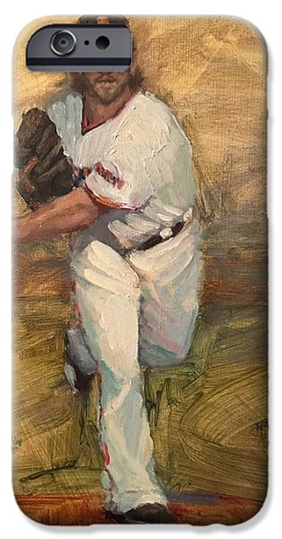 World Series Paintings iPhone Cases - Madbum Warmup Sketch iPhone Case by Darren Kerr