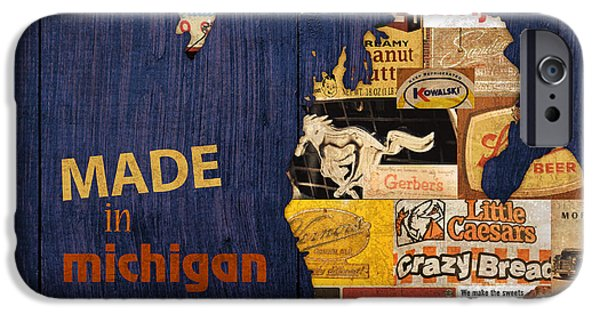 Mustang iPhone Cases - Made in Michigan Products Vintage Map on Wood iPhone Case by Design Turnpike