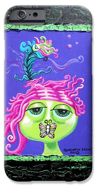 Ego iPhone Cases - Mademoiselle Flutterby iPhone Case by Genevieve Esson