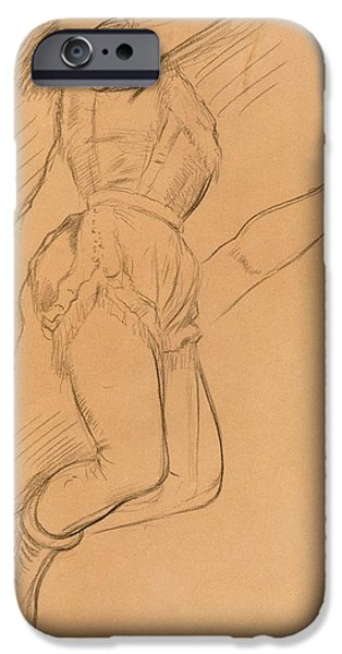 Crayons Drawings iPhone Cases - Mademoiselle La La at the Circus Fernando iPhone Case by Edgar Degas