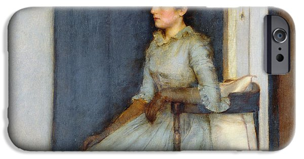 Furniture iPhone Cases - Mademoiselle Monnom iPhone Case by Fernand Khnopff