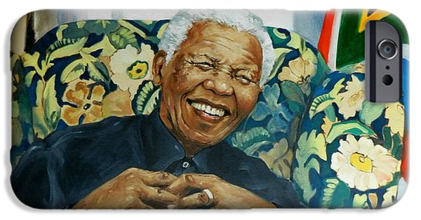 Democracy Paintings iPhone Cases - Madiba iPhone Case by Robert Teeling
