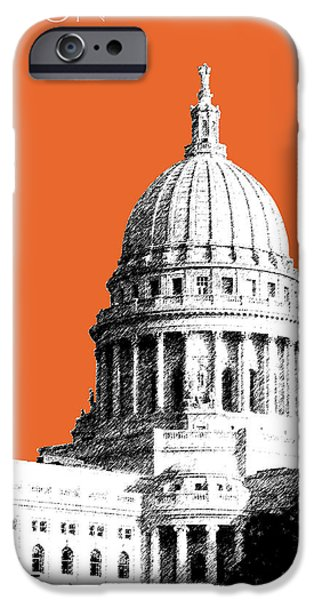 Pen And Ink iPhone Cases - Madison Capital Building - Coral iPhone Case by DB Artist