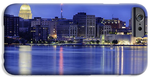 Capitol iPhone Cases - Madison Skyline Reflection iPhone Case by Sebastian Musial
