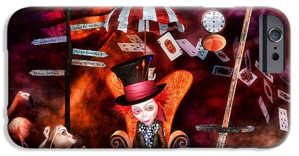 Mad Hatter iPhone Cases - Madness in the Hatters Realm iPhone Case by Putterhug  Studio