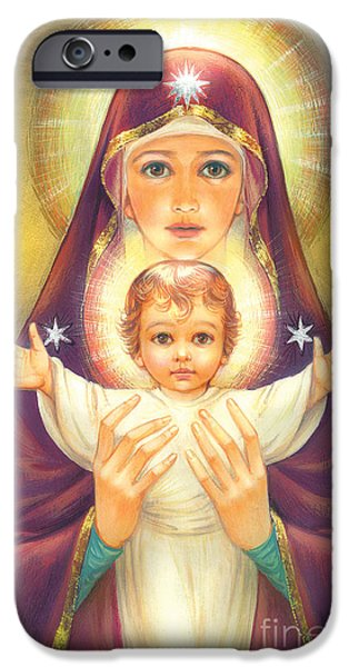 Spiritual Portrait Of Woman iPhone Cases - Madonna and Baby Jesus iPhone Case by Zorina Baldescu