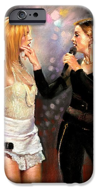 Madonna iPhone Cases - Madonna and Britney Spears  iPhone Case by Viola El