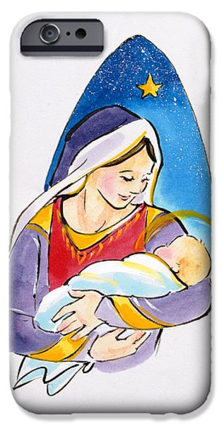 Halos iPhone Cases - Madonna And Child, 1996 Wc iPhone Case by Diane Matthes
