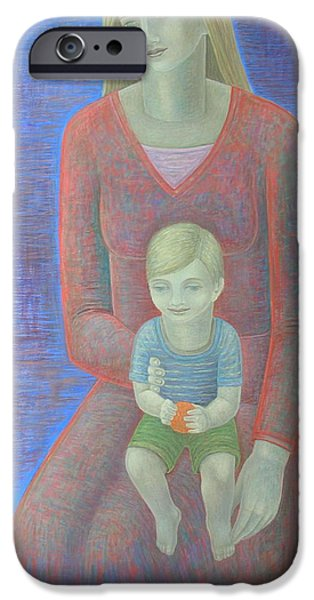 Relationship iPhone Cases - Madonna And Child, 2014, Oil On Canvas iPhone Case by Ruth Addinall
