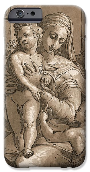 Madonna iPhone Cases - Madonna and Child iPhone Case by Aged Pixel