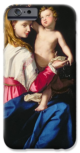 Renaissance iPhone Cases - Madonna and Child iPhone Case by Alessandro Allori