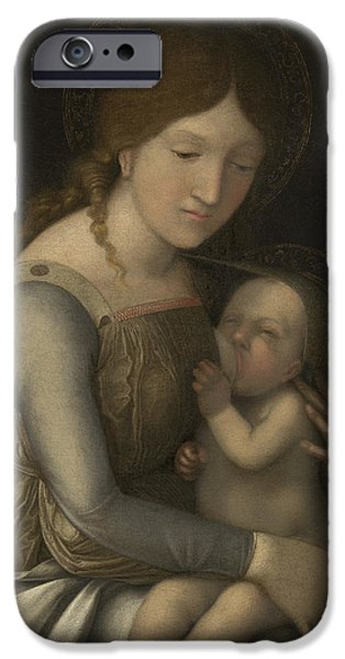 Renaissance iPhone Cases - Madonna and Child iPhone Case by Andrea Mantegna