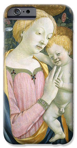 Renaissance iPhone Cases - Madonna and Child iPhone Case by Domenico Veneziano