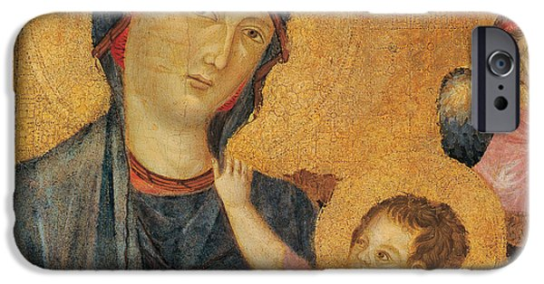 Madonna iPhone Cases - Madonna and Child Enthroned  iPhone Case by Cimabue