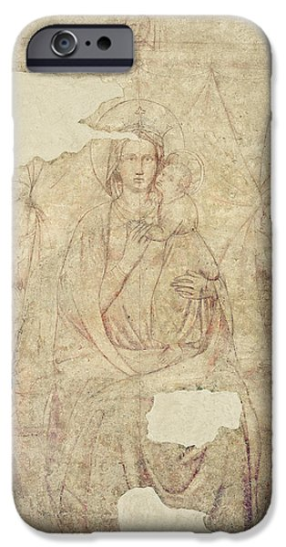 Baby Jesus iPhone Cases - Madonna And Child Enthroned, Drawing For A Fresco Sinopia On Paper iPhone Case by Paolo di Stefano Badaloni Schiavo