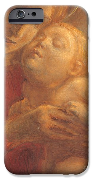 Young Paintings iPhone Cases - Madonna and Child iPhone Case by Gaetano Previati