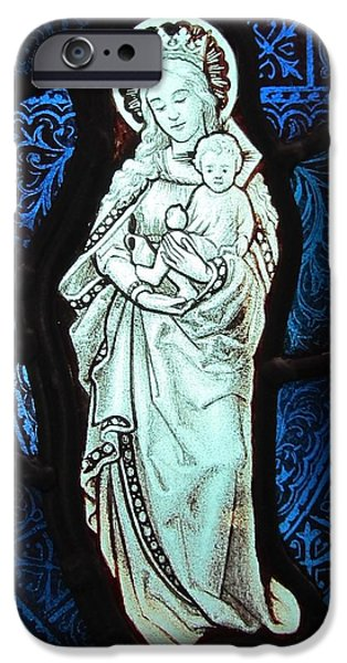 Sacred Glass iPhone Cases - Madonna and Child iPhone Case by Gilroy Stained Glass