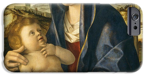 Renaissance iPhone Cases - Madonna and Child in a Landscape iPhone Case by Giovanni Bellini
