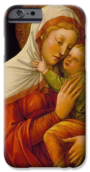 Madonna Digital Art iPhone Cases - Madonna And Child iPhone Case by Jacob Bellini
